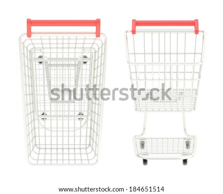 Metal shopping cart isolated over the white background, set of two foreshortenings, front and above views