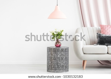 Metal Side Table Bouquet Vase Next Stock Photo Royalty Free
