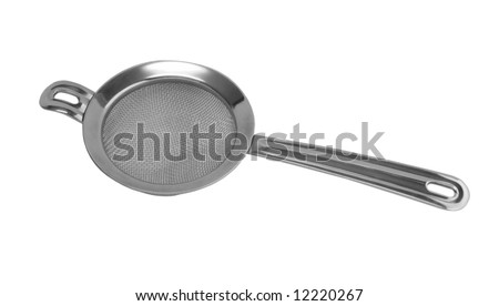 Metal sieve strainer, isolated on white