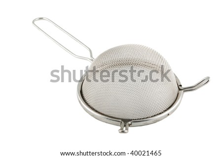 metal sieve with handle isolated on white