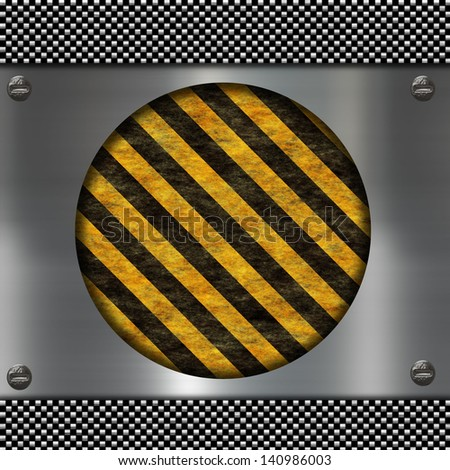 metal sign and warning stripes