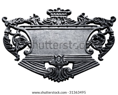 metal sign isolated with clipping path - stock photo