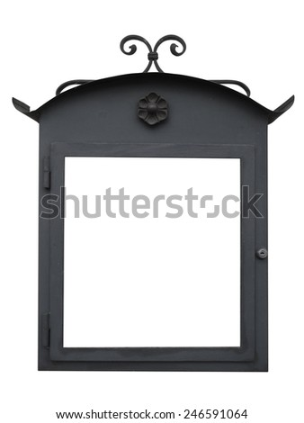 Metal Sign on the wall. Object isolated on white, with clipping path.  - stock photo