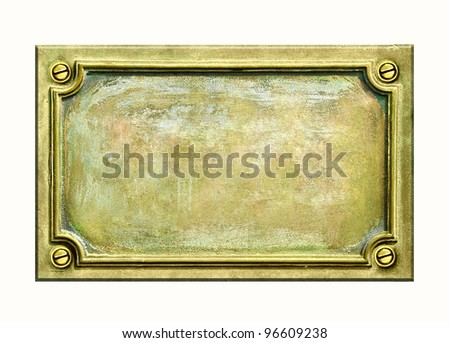 Metal sign plate with frame and grunge texture for your text. Brass antique plaque with cracks and scratches on golden surface. - stock photo