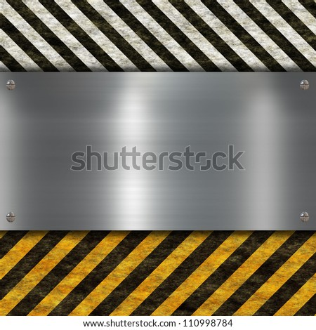 metal sign with warning stripes - stock photo