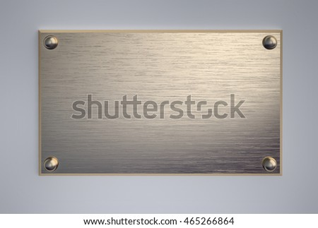 Metal signboard with screws. 3D rendering