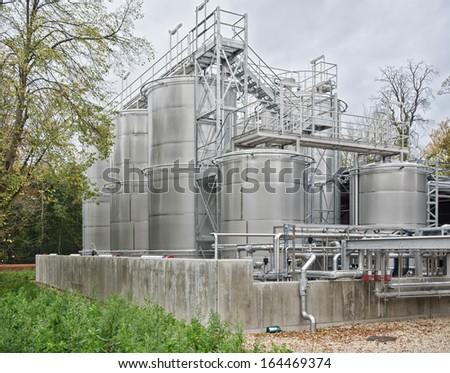 metal silos - stock photo