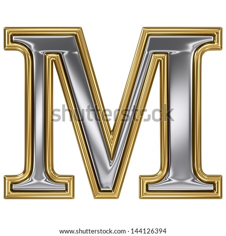Metal silver and gold alphabet letter symbol - M - stock photo