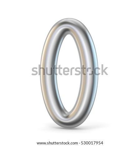 Metal silver font. Number ZERO 0 3D render illustration isolated on white background