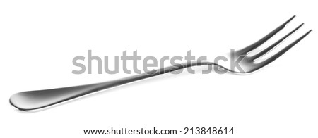 Metal small dessert fork isolated on white - stock photo