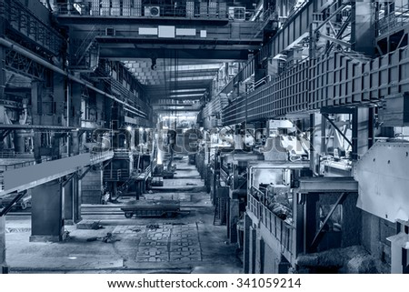Metal smelting Steel mills factory scene