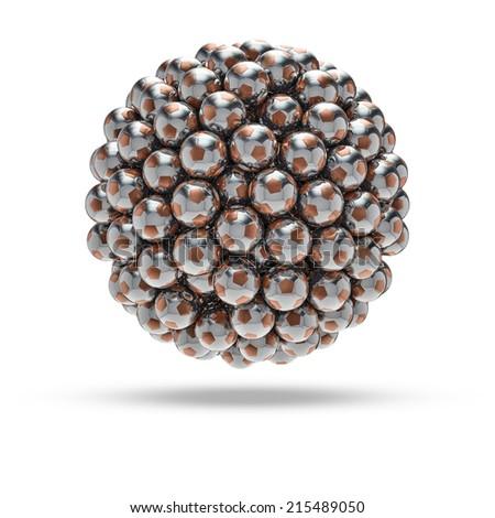 Metal soccer ball sphere - stock photo