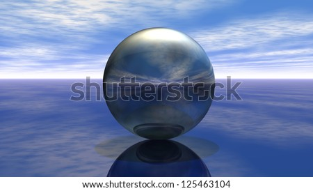 metal sphere under cloudy sky - 3d illustration - stock photo