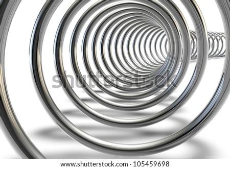 Metal spring on a white background - stock photo