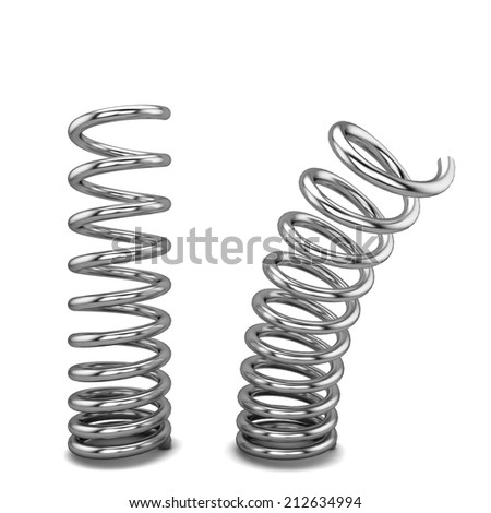 Metal springs. 3d illustration isolated on white background  - stock photo