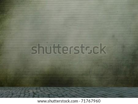 Metal stainless steel roll up door - stock photo