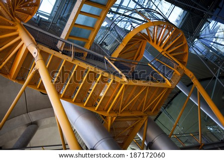 Metal staircase inside a building