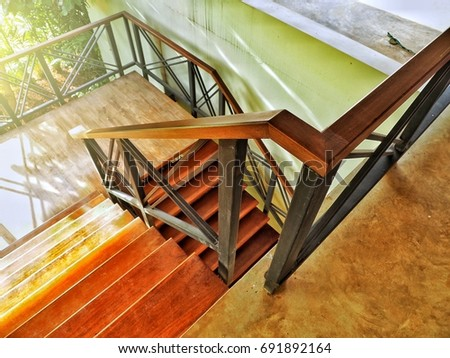 Metal Staircase Railing With Wooden Stair. Interior Design In Vintage Style.