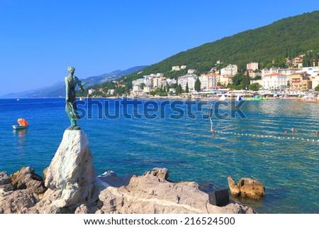 Metal statue decorates the promenade near the Adriatic sea, Opatija, Croatia - stock photo