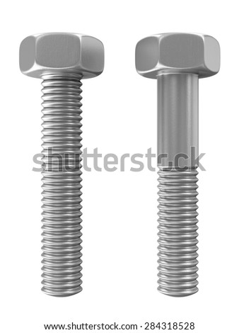 Metal Steel Bolts isolated on white background - stock photo
