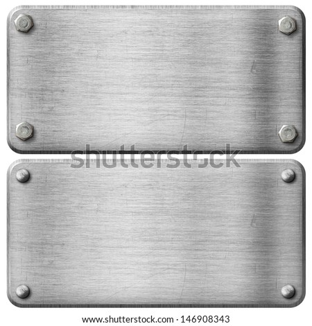 metal steel plates set with screws and rivets isolated