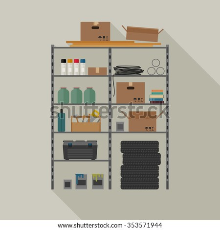 Metal storage illustration with tools and boxes. Raster version.