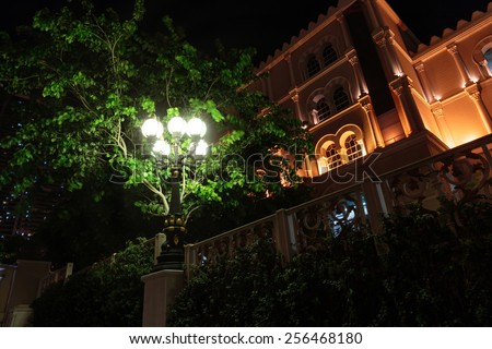 metal streetlight, night view - stock photo