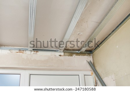 Metal structure for a drywall ceiling - stock photo