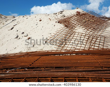 Metal structure for construction - stock photo