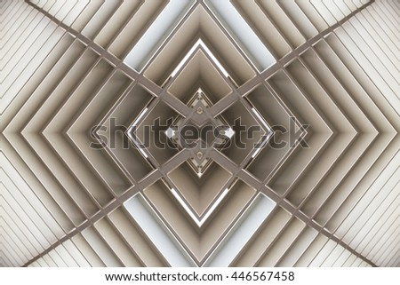 metal structure similar to spaceship interior - stock photo