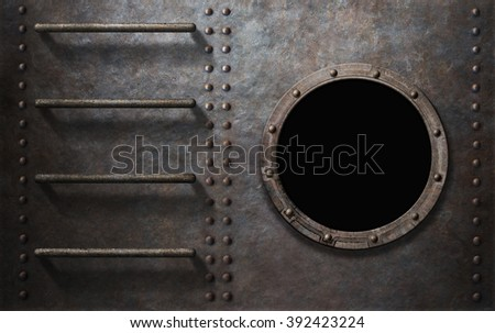 metal submarine or ship side with stairs and porthole - stock photo
