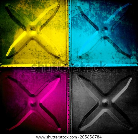 metal tank with CMYK color - stock photo