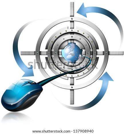 Metal Target Mouse and Globe / Metal target, mouse, globe and blue arrows on white background   - stock photo