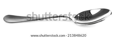 Metal tea spoon isolated on white