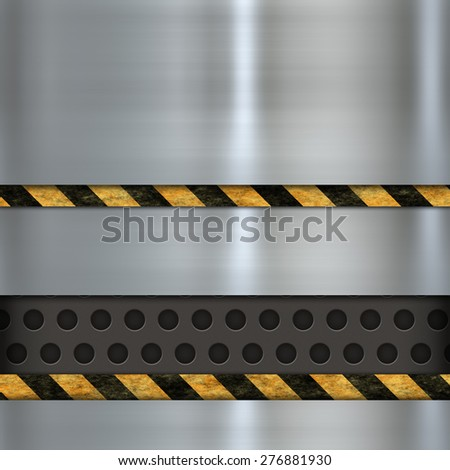 metal template and warning sign - stock photo
