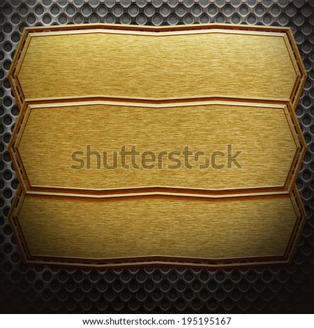 Metal template. Iron plate background