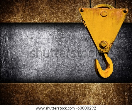 metal template with crane hook - stock photo