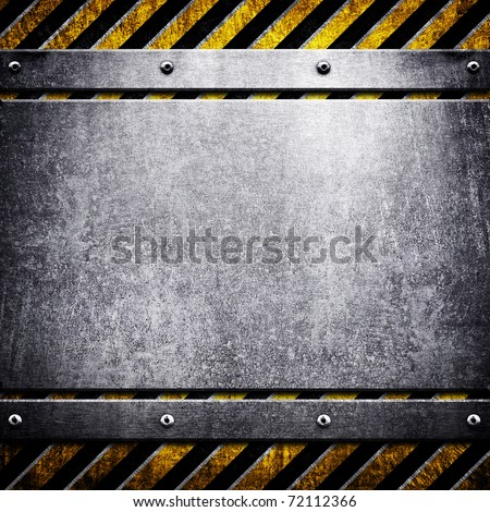 metal template with warning stripe - stock photo