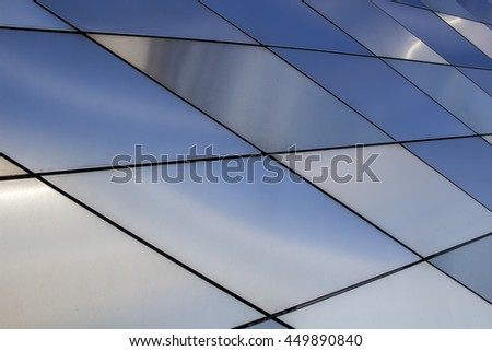 Metal texture background. Abstract architectural pattern. Colored metals plates. Close up - stock photo