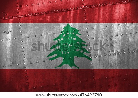 metal texture or background with Lebanon flag