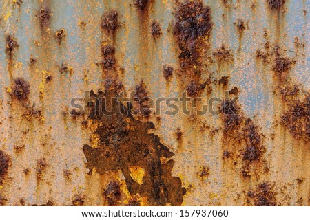 Metal texture with blue paint and rust - stock photo
