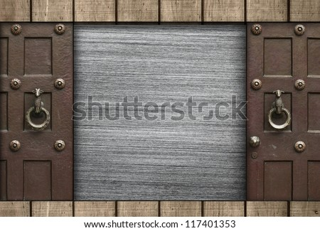 Metal Texture with Wooden Board and Gates