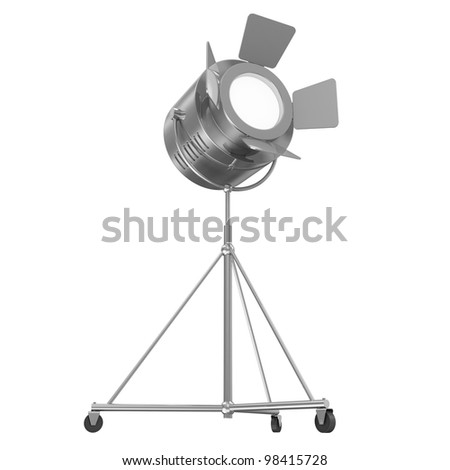 Metal Theater Spotlight isolated on white background - stock photo