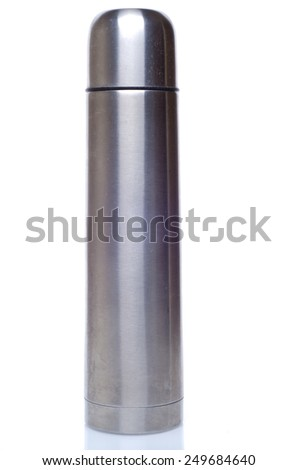Metal thermos flask on the white background - stock photo
