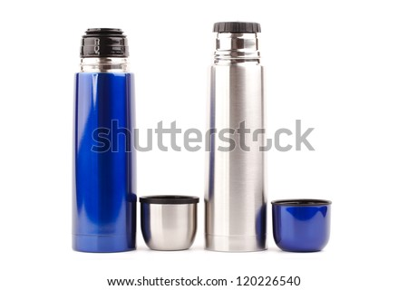 metal thermos isolated on white background - stock photo
