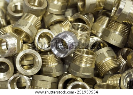 metal threaded connection parts closeup - stock photo