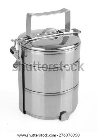 Metal Tiffin, Food Container On White Background - stock photo