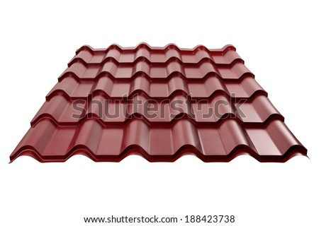 Metal tile isolated on white background. Material for roof. - stock photo