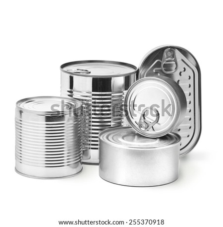 metal tin cans on a white background. path saved - stock photo