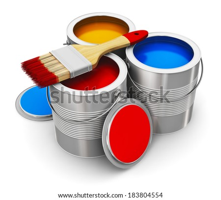 Metal tin cans with color paint and paintbrush isolated on white background - stock photo